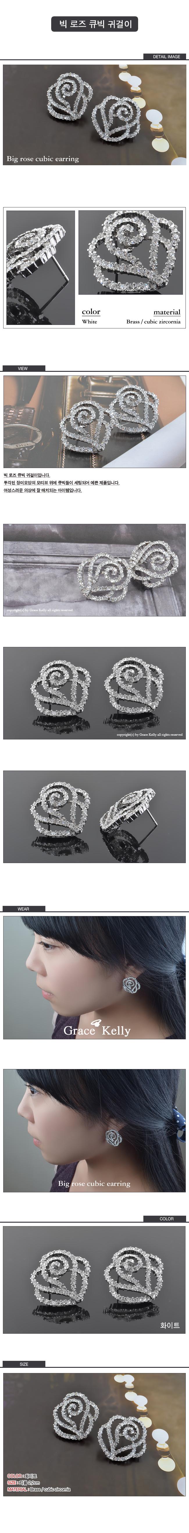 빅 로즈 큐빅 귀걸이 - 그레이스켈리, 24,500원, 주얼리 DIY, 귀걸이